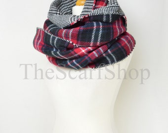 Red & Black Plaid Check Blanket Knit Tartan Checked Houndstooth Scarf,Wrap,Winter Shawl,Oversize Scarf,Chunky Scarf,Teen Gift,Winter Warm