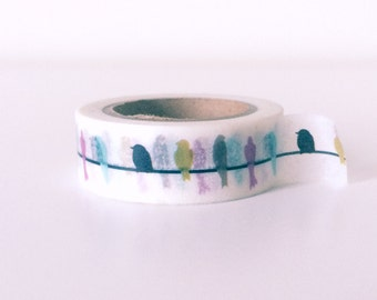Colorful parrots washi tape
