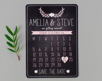 Chalkboard Calendar Save the Date - Dusky Romance