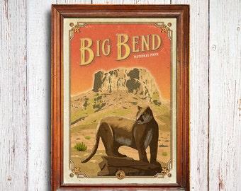Big Bend poster, Big Bend National Park print, casa grande poster, Big Bend gift poster, puma poster, mountain lion poster