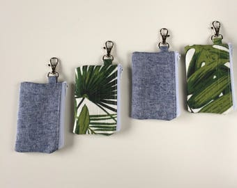 ID Card Wallet Keychain, Small Tropical Coin Pouch, Mini Chambray Zipper Pouch, Business Card Holder, Keychain Wallet, Metro Card Holder