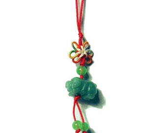 Apple Green Jade Pig Silk Cord Charm Pendant