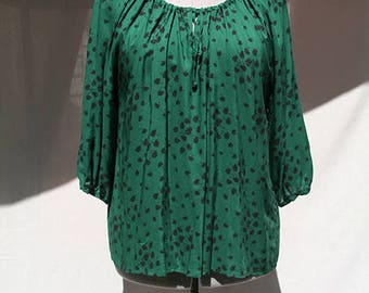 Deep green and black floral blouse - Hand Made - Made in France