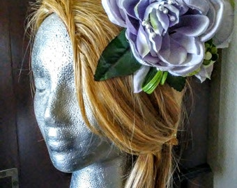 Lilac-hued Cabbage Rose Hair Comb