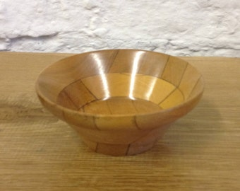 Vintage Treen Deep Wooden Bowl Or Dish. Lovely Patchwork Design.
