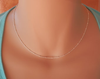 Dainty silver choker necklace Silver chain necklace layering necklace silver chain choker necklace satellite chain silver Satellite Necklace