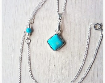 Turquoise Diamond Cut Necklace, Gemstone, Pretty, Blue, Unque, Fun, Cute, Gift, Mother, Daughter, Friendship, Girlfriend