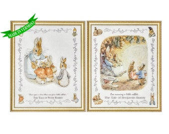 Set of 2 - VINTAGE Framed Beatrix Potter Art Prints 18x22, Tale of Peter Rabbit & Tale of Benjamin Bunny, Storybook Art Prints, Nursery Art