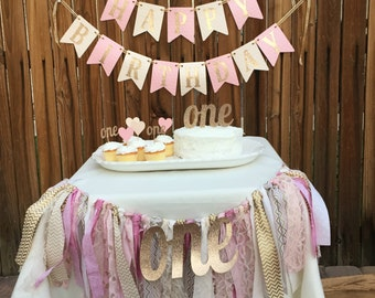 Pink and Gold Happy Birthday Banner, Pink and Gold Birthday, Pink and Gold Birthday Banner, Party Package