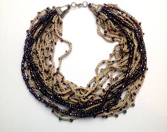 BEADED CROCHET NECKLACE Violet necklace Statement necklace purple necklace Violaceous jewelry  Long beaded necklace Housewarming gift nature