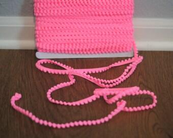 Hot Pink Mini Pom-Pom Fringe | 3/8 inch | Baby Pom Garland | Bright Pink Decorative Trim | by the yard