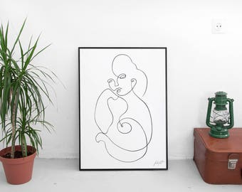 Original one line painting, in black and white colors - Minimal Painting - Modern art