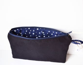 Cosmetic bag, Fabric cosmetic bag, Fabric pouch, Toiletry pouch, Cosmetic case Cotton pouch Make-up bag Fabric zip pouch Make-up pouch small