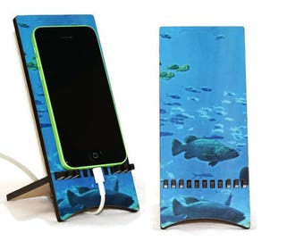 Wood phone holder, Mothers Day gift for Mom, Office organizer, smartphone stand, ocean life photography under the sea life prints nightstand