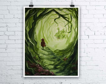 Heart of the Woods - Little Red Riding Hood inspired Halloween Fairy tale Giclee Fine Art Print - Various sizes available
