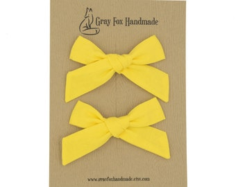 Sunshine Yellow Hand-Tied Bow // Pigtail Set