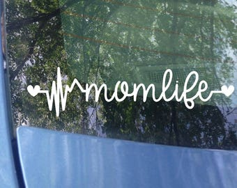 Mom Life | Mom Life Heartbeat Car Decal | Window Decal | Laptop Decal | Mom Decal | Mother's Day | Mom Gift | Mom Sticker | Bumper Sticker