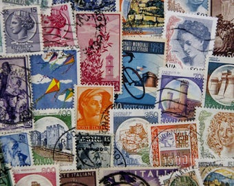 50 Italian Postage Stamps // Vintage & Modern Mixed Lot // Italy // Scrapbooking // Travel Journal // Paper Craft // Ephemera // Unique Gift
