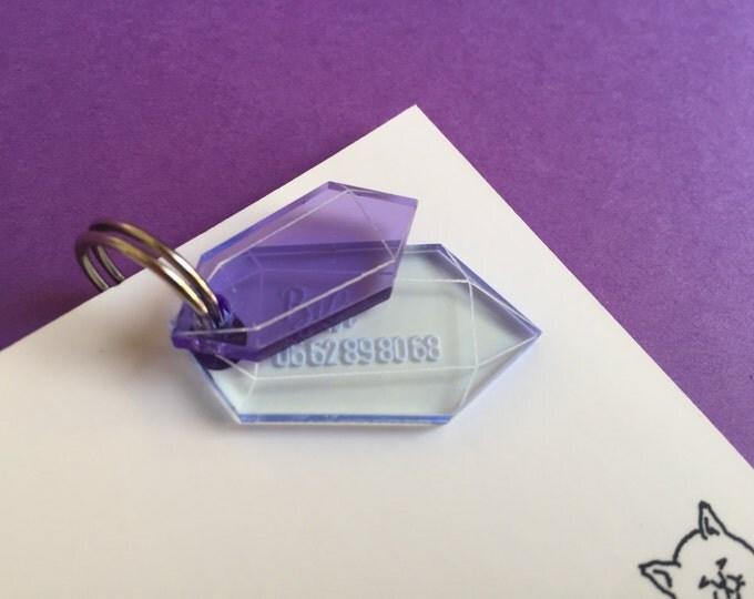 Médaillon d'identité pour chat - Cristal violet