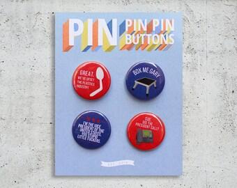 Veep Button Set / TV Show Buttons / Pinback Buttons / Gift Set