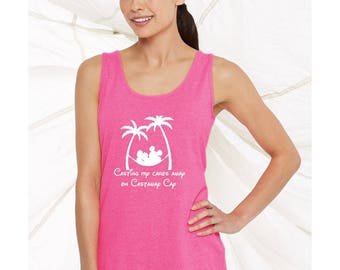 Disney cruise inspired Casting My Cares Away on Castaway Cay Carribean Bahamas women's tank top 42wt
