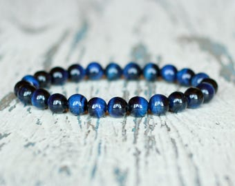 dark blue bracelet bohemian women beaded bracelet 8mm blue tiger eye bracelet gifts blue stone Men Beaded Jewelry Hawk natural navy bracelet