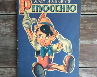 Pinocchio Coloring Book; Vintage Pinocchio Book; Walt Disney's Pinocchio; Children's Book; Vintage Book; Blank Coloring Book