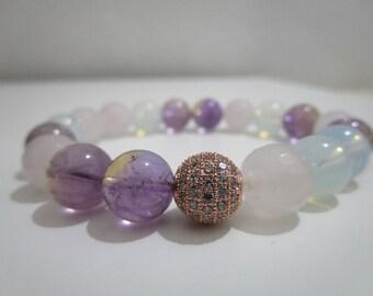 Ametrine bracelet, Opalita, Rose Quartz, bracelet of semi-precious stones, beaded bracelet, gift for women, Womens bracelet