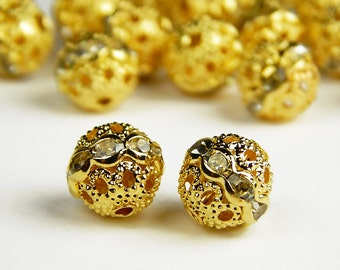 5 Pcs or 10 Pcs - 10mm Gold Czech Crystal Rhinestone Pave Diamante Round Spacer Beads - Pave Beads - Czech Beads - Jewelry Supplies