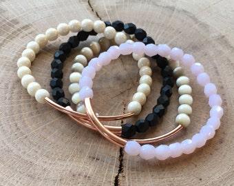 Copper Bar Beaded Bracelets