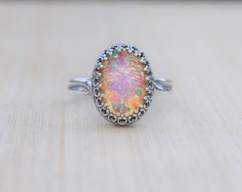 Fire Opal Ring, Vintage Fire Opal, Adjustable Ring, Opal Ring, Glass Fire Opal Ring, Silver Fire Opal Ring