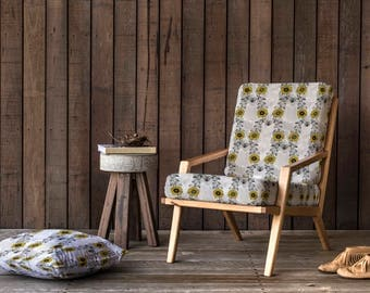 Sunflower Upholstery Fabric with Leaves Design in Yellow & Grey, quality floral chenille textile also suitable for cushions, blinds,curtains