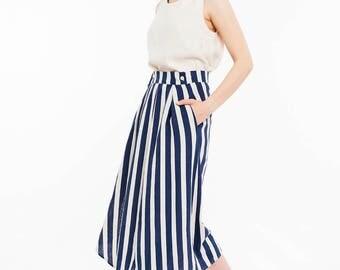 Linen Navy Stripes Midi Skirt / Summer Skirt / Long Linen Skirt / Summer Linen Skirt