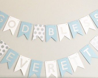 Baptism Banner, Christening Banner, First Communion Banner, God Bless This Child Personalized Banner, Personalized Banner, Nursery Decor