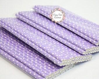 Polka Dot Straws, Purple Polka Dots, Purple Paper Straws, Pack of 25, Paper Straws, Light Purple Straws, Purple Party Decor, Birthday Party
