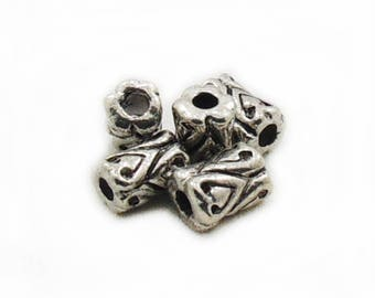 Antique Silver Tube Beads, 5 pcs Tube Beads, Metal Tube Beads, 10x7mm Tube Beads, Metal Beads, Jewelry Making, Craft Supplies