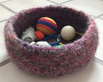 Fuzzy Multi-Pink and Brown Decorative Bowl