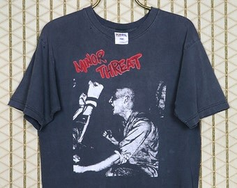 Minor Threat vintage t-shirt, rare tee shirt, hardcore punk, punk rock, Fugazi, Dag Nasty, Bad Religion, Straight Edge, faded black