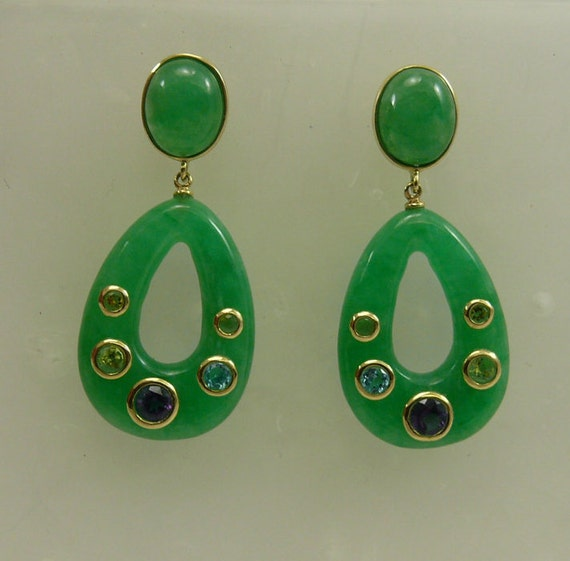 Green Jade 18x25mm & 8x10 mm Earrings 14k Yellow Gold with Multicolor Gem Stones