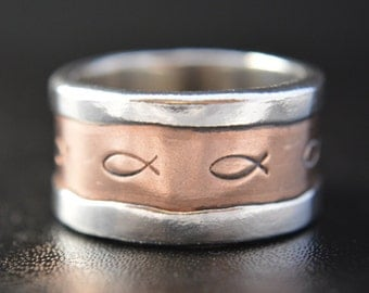 Christian Fish, Ichthys, Fine Silver and Bronze Wedding Band, Engagement Band, Promise Ring, Artisan Ring, Rustic Band