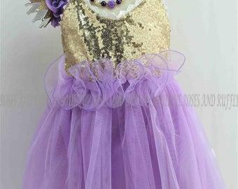 Purple & Gold Baby Dress, Baby Girl Dress, Baby Tutu Dress, Princess Dress, Baby Photo Prop, Toddler Dress, Infant Dress, Baby Pageant Dress