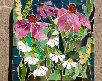 Wild Flowers Mosaic: MADE TO ORDER Stained Glass Mosaic Wall Art