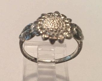 Vintage Sterling Silver 925 Sunflower Sun Flower Floral Ring