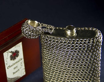 Craft chainmailled flask /  Steampunk Flask / Vintage style flask / 3,5oz Stainless Steel Whiskey Alcohol  Flask