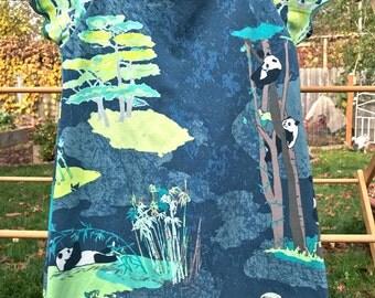 Girls panda dress, panda dress, cotton dress, jersey knit dress, aline dress, fernbird frocks, size 3, size 4, size 3/4