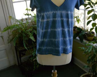 Shibori t-shirt indigo dyed - Women's Size Small - Free Shipping!