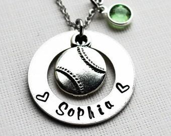 softball necklace, personalized softball necklace, sofball gift, softball name necklace, softball name jewelry, softball theme necklace