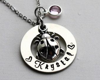 lady bug necklace, personalized lady bug necklace, lady bug gift, lady bug name necklace, lady bug name jewelry, lady bug theme necklace