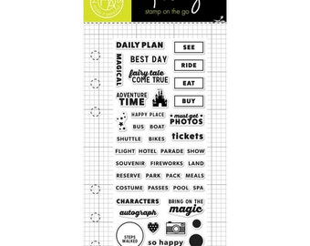 Theme Park Kelly Purkey Planner Stamps, ADVENTURE TIME Planner Stamps, Hero Arts Stamps, theme park stamps, vacation stamps (CM115)