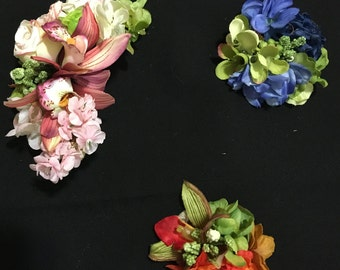 Small custom floral hair clips